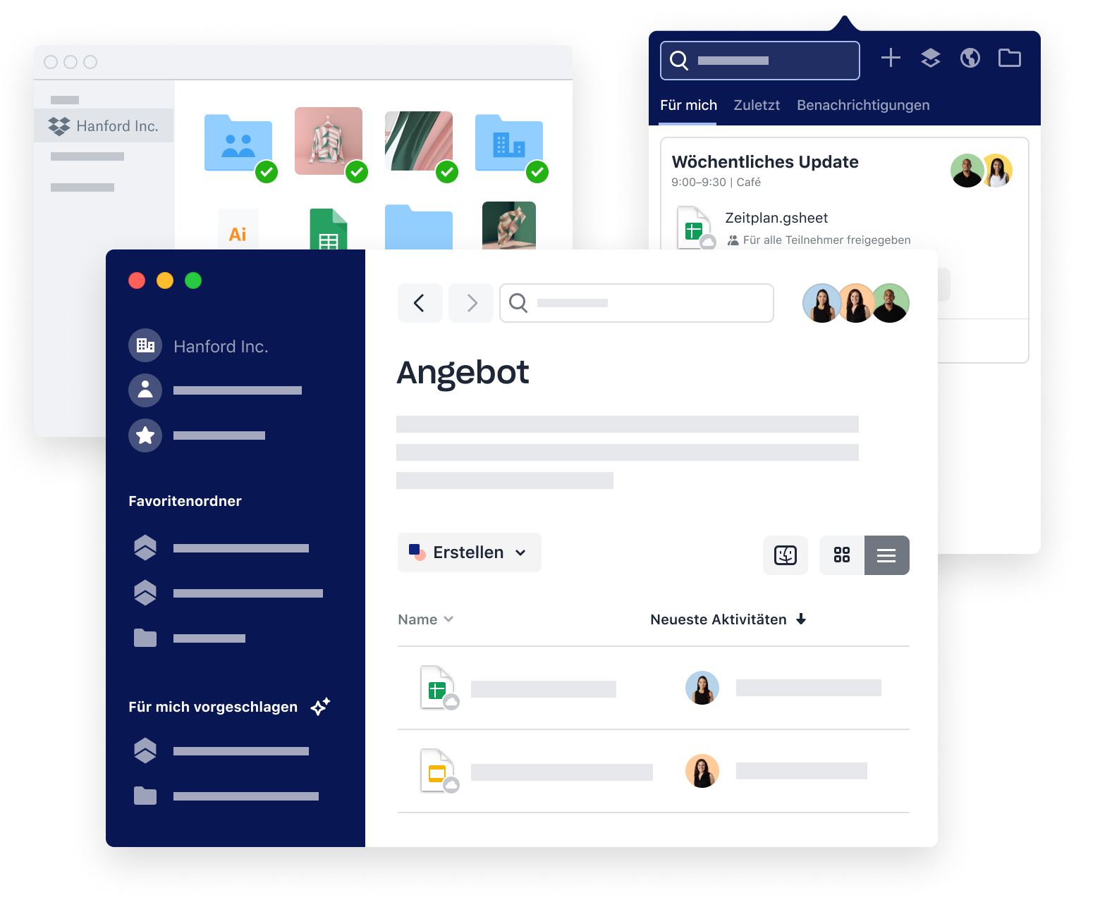 Examples of Dropbox interfaces for teamwork, including folder organization and scheduling meetings.