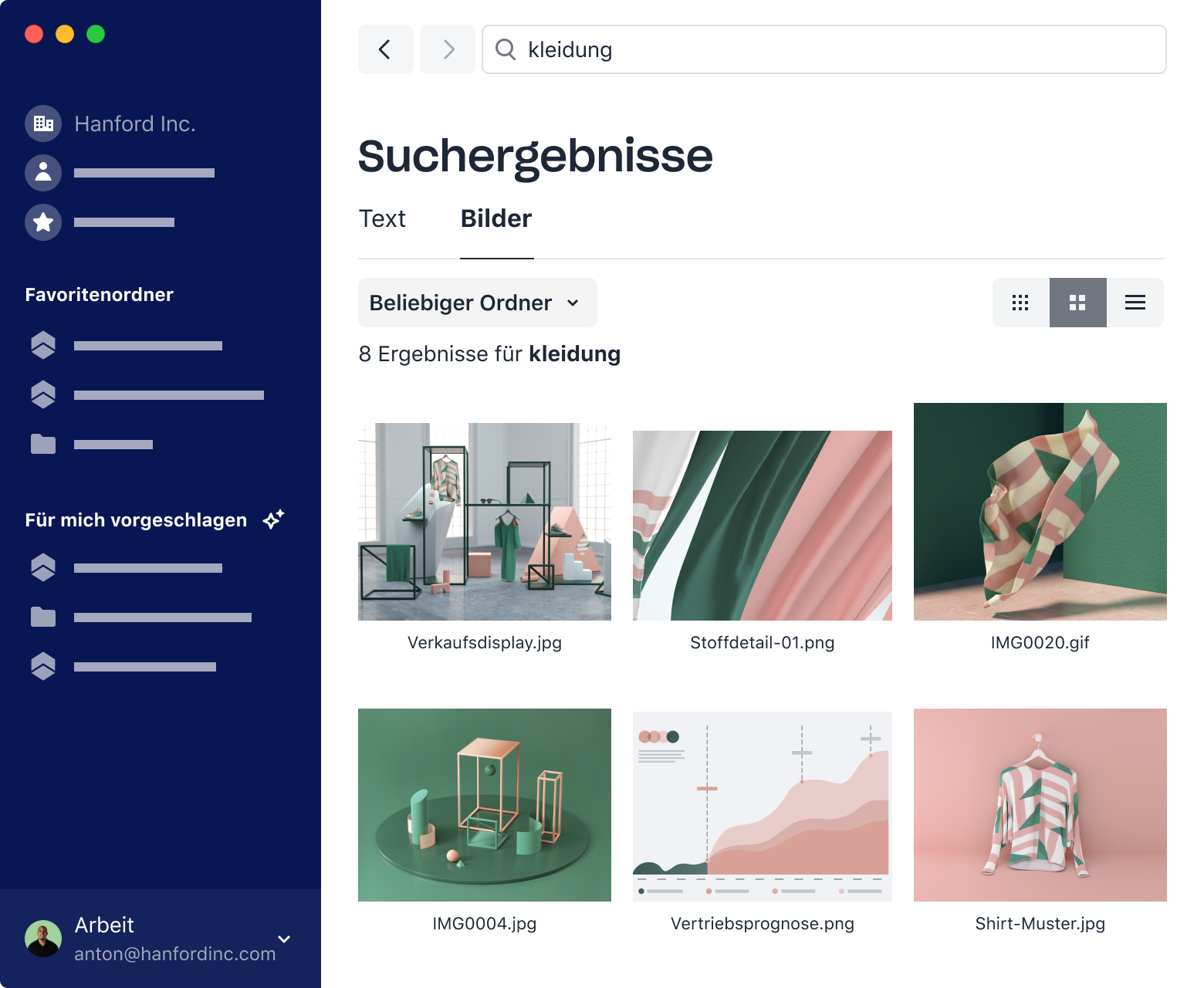 Examples of intelligent image search results for 'clothing' query in Dropbox.