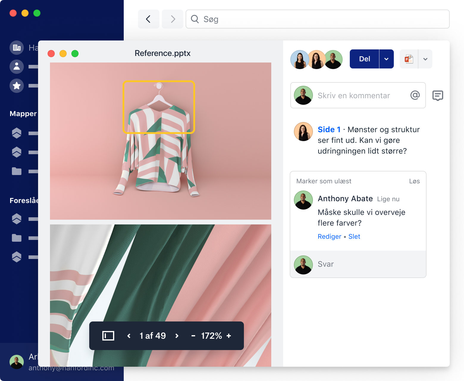 Examples of team members adding comments to images of clothing in Dropbox.