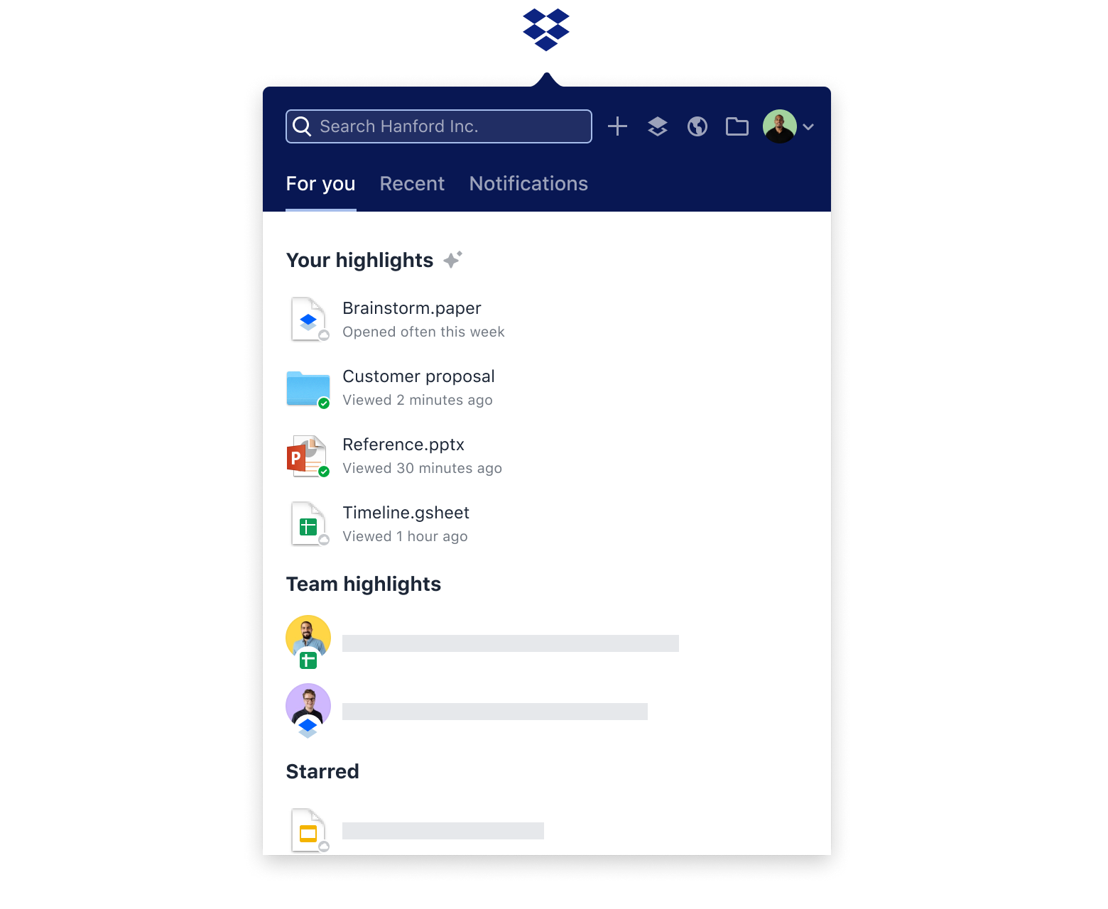 Overview of team and personal highlights of recent activity in the Dropbox 'For you' tab.
