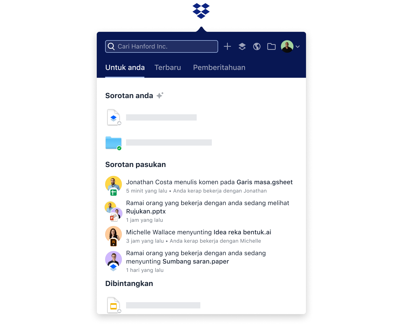 Overview of recent personal and team activity in the Dropbox 'For you' tab.