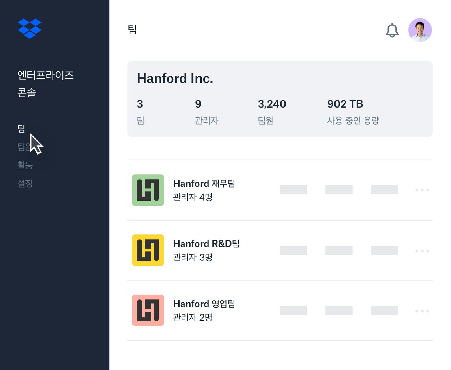 부속팀 목록과 팀원 개요가 표시된 Dropbox 엔터프라이즈 콘솔 인터페이스 예시.