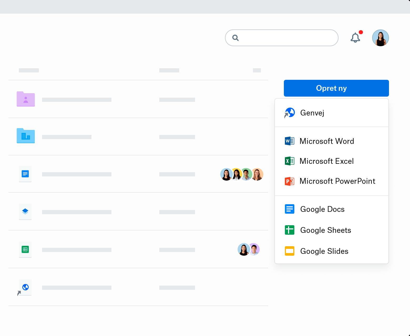 """Et skærmbillede af rullemenuen """"Opret ny"""" på Dropbox.com. Rullemenuen indeholder Genvej, Microsoft Word, Microsoft Excel, Microsoft PowerPoint, Google Docs, Google Sheets og Google Slides."""