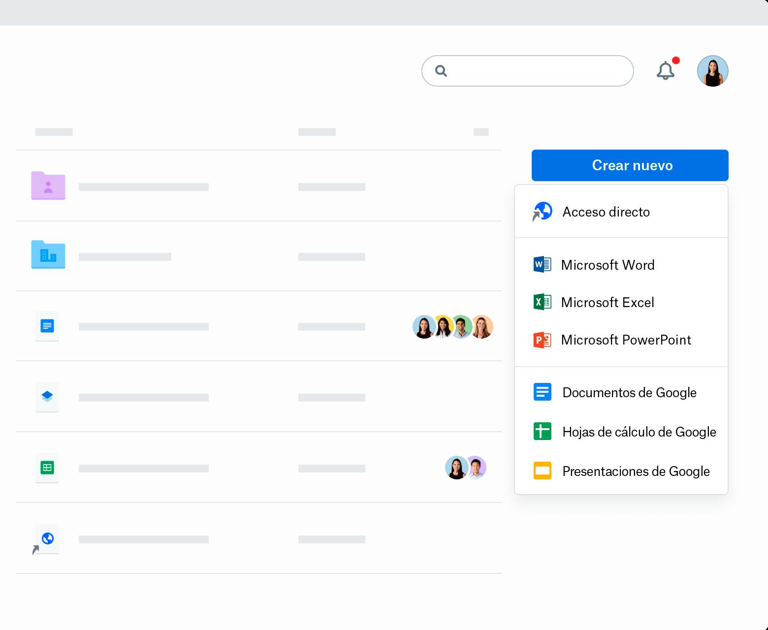 """Captura de pantalla del menú desplegable """"Crear nuevo"""" en Dropbox.com. El menú enumera los accesos directos, Microsoft Word, Microsoft Excel, Microsoft PowerPoint, Google Docs, Google Sheets y Google Slides."""