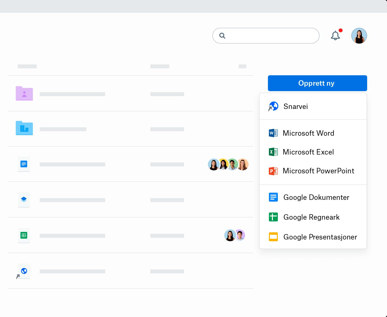 """Et skjermbilde av """"Opprette ny"""" nedtrekksmeny i Dropbox.com. Menyen viser snarvei, Microsoft Word, Microsoft Excel, Microsoft PowerPoint, Google Docs, Google Sheets og Google Slides."""