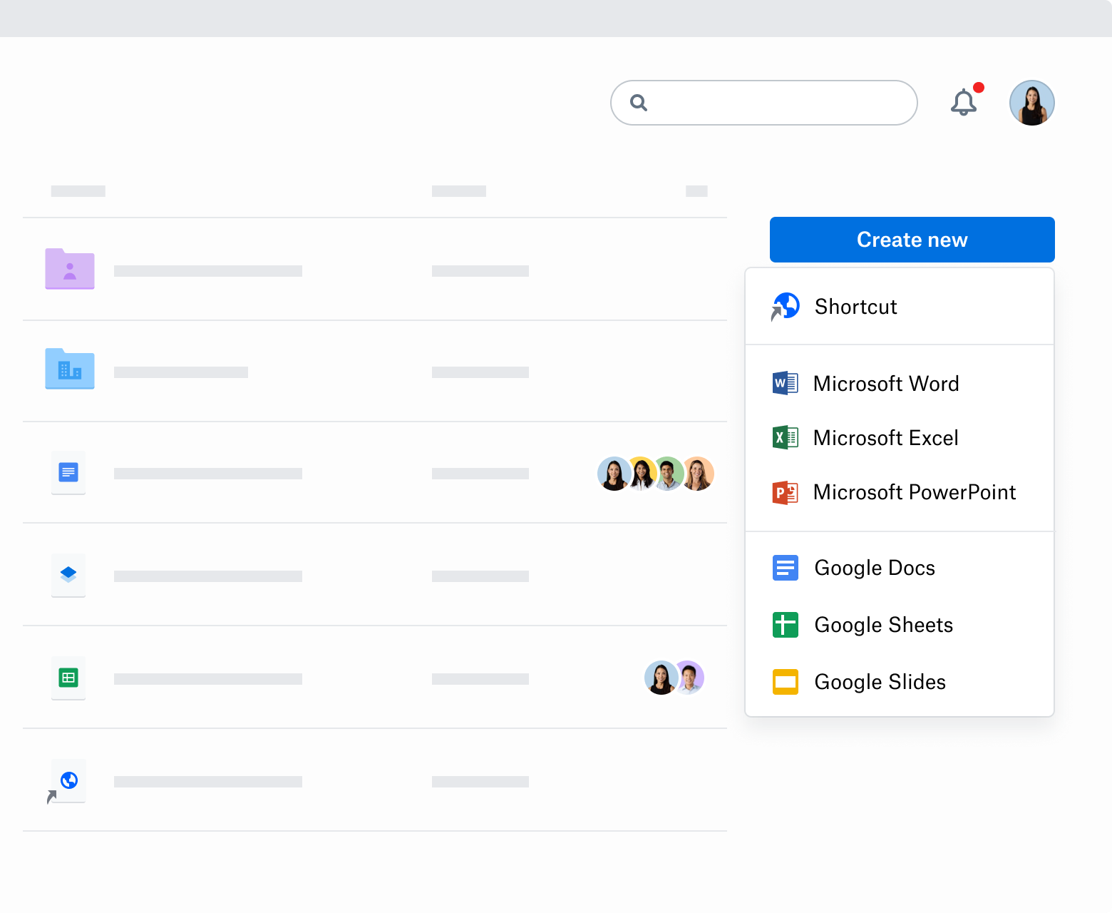 "A screenshot of the ""Create new"" drop-down menu in Dropbox.com. The menu lists Shortcut, Microsoft Word, Microsoft Excel, Microsoft PowerPoint, Google Docs, Google Sheets and Google Slides."