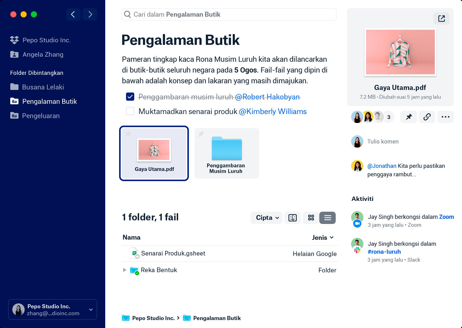 Tangkapan skrin apl desktop Dropbox yang baharu. Bar sisi paling kiri menyenaraikan pasukan Dropbox dan folder peribadi anda serta mana-mana folder berbintang yang mungkin anda ada. Tetingkap tengah memaparkan nama folder dan gambaran keseluruhan yang menerangkan kandungan folder anda. Di bawah merupakan senarai tugasan dengan @mentions, fail pin dan folder serta fail dan folder dalam folder. Tetingkap butiran paling kanan memaparkan fail terpilih, orang yang berkongsi fail dengan anda dan juga mana-mana komen dan aktiviti di sekeliling fail.