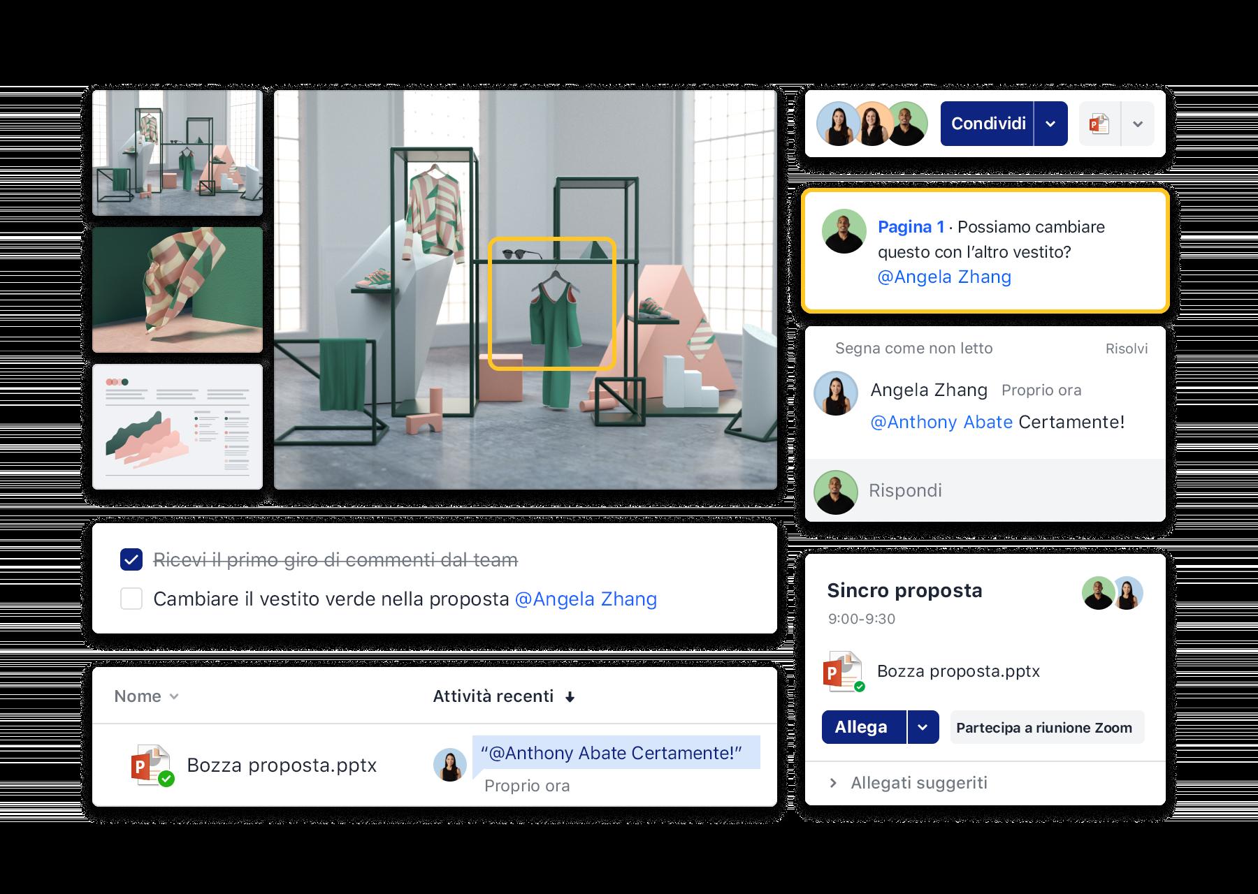 Interfacce di Dropbox per la collaborazione, come aggiunta di commenti, organizzazione riunioni Zoom e utilizzo di elenchi attività.