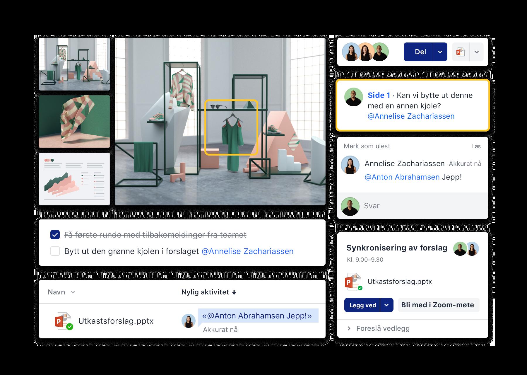 Dropbox-grensesnitt for samarbeid som for eksempel å legge til kommentarer, organisere Zoom-møter og bruke gjøremålslister.