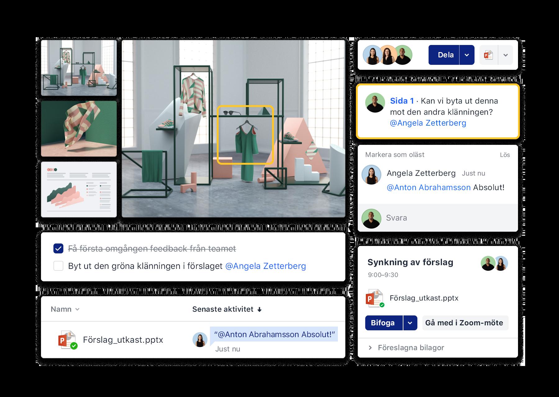 Dropbox gränssnitt för samarbete, till exempel att lägga till kommentarer, organisera Zoom-möten och använda att-göra-listor.