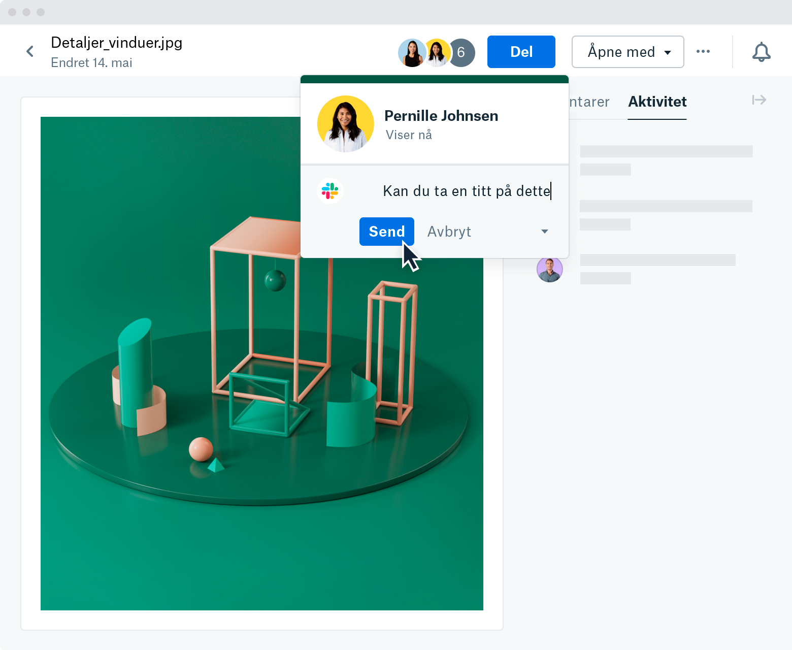 """A screenshot of a """"Share drop down menu"""" that appears after selecting """"Slack"""" within a file preview on Dropbox.com. The menu shows a Patricia Johnson viewing your file, while you type """"Could you take a look at this"""" into a Slack message below. The mouse is hovering over """"Send""""."""