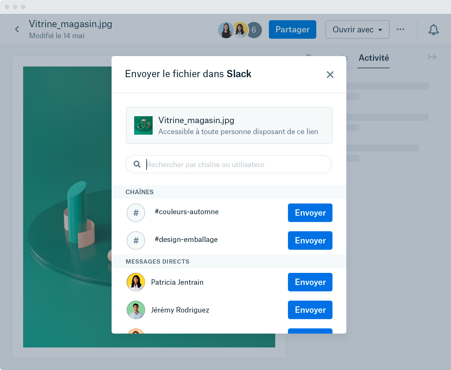 """A screenshot of a window that appears after selecting """"Send file to Slack"""" within a file preview on Dropbox.com. The window shows the image name and type as well as a list of Slack channels and Direct Messages that you can send the image to."""