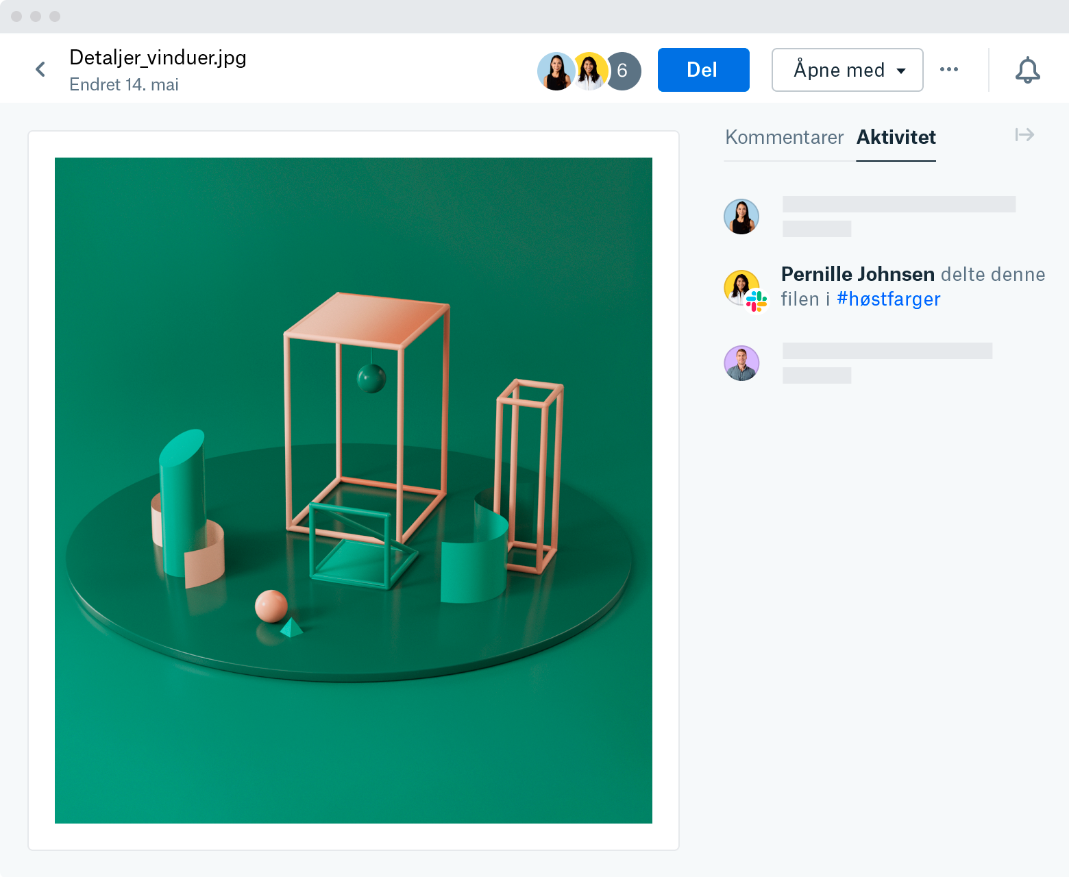 """A screenshot of a file preview on Dropbox.com. On the right side of the preview is an Activity feed. The text says, """"Patricia Johnson shared this file in #fall-colors"""" (a channel on Slack)."""