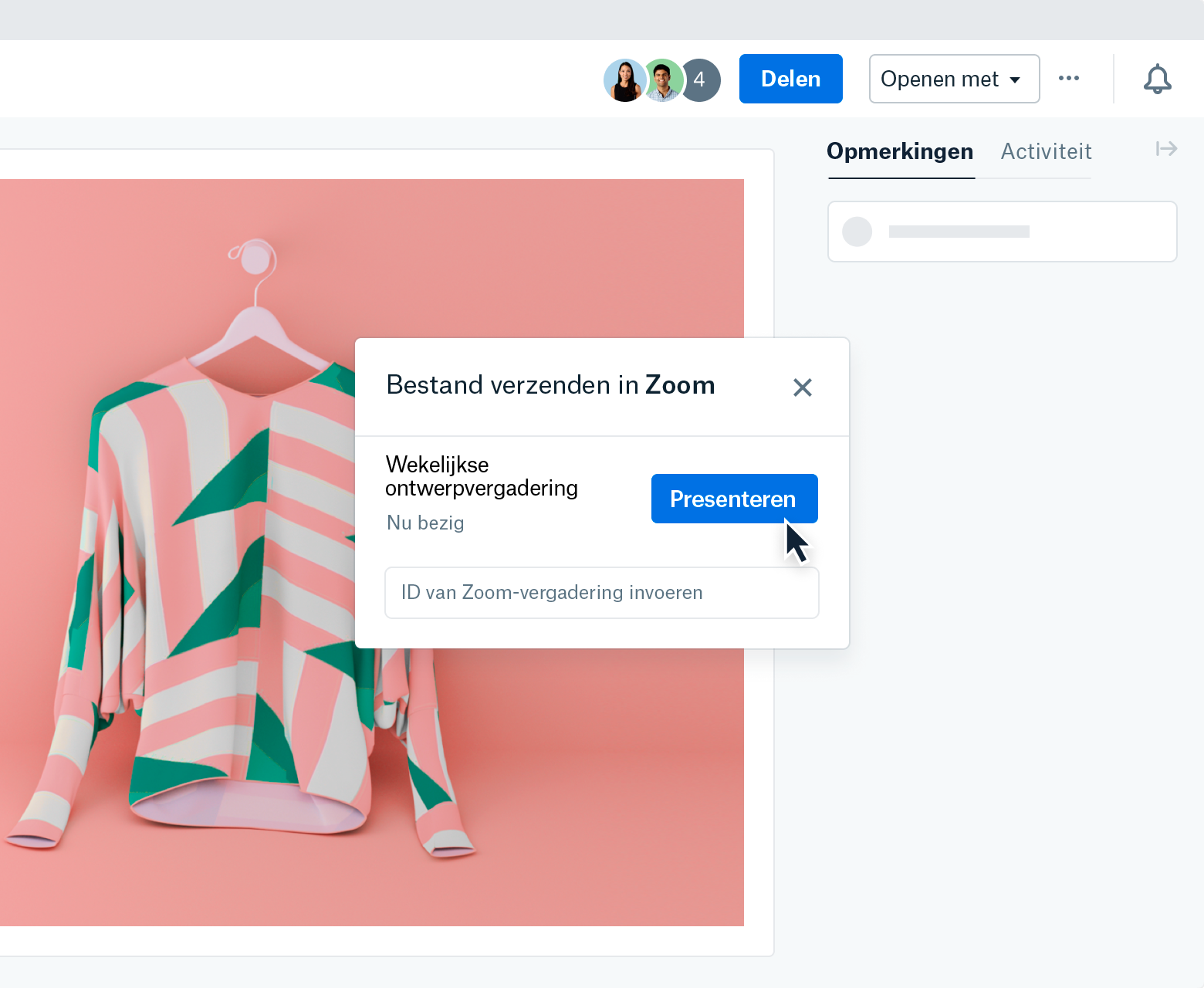 """A screenshot of a modal that appears after selecting """"Send file in Zoom"""" within a file preview on Dropbox.com. The modal shows a """"Weekly Design Meeting"""" happening now. The mouse is hovering over a """"Present"""" button while """"Enter Zoom Meeting ID"""" is visible in a field below."""