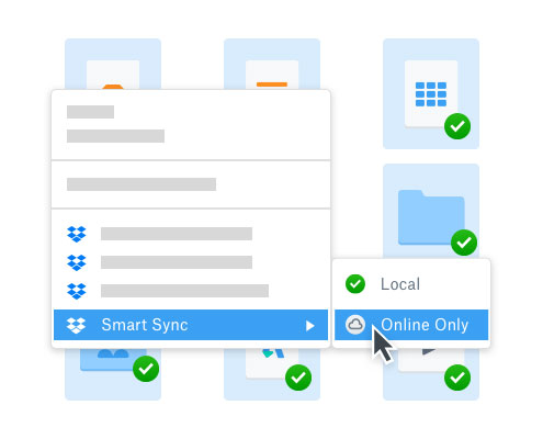User selecting online folder access using Dropbox Smart Sync to save space
