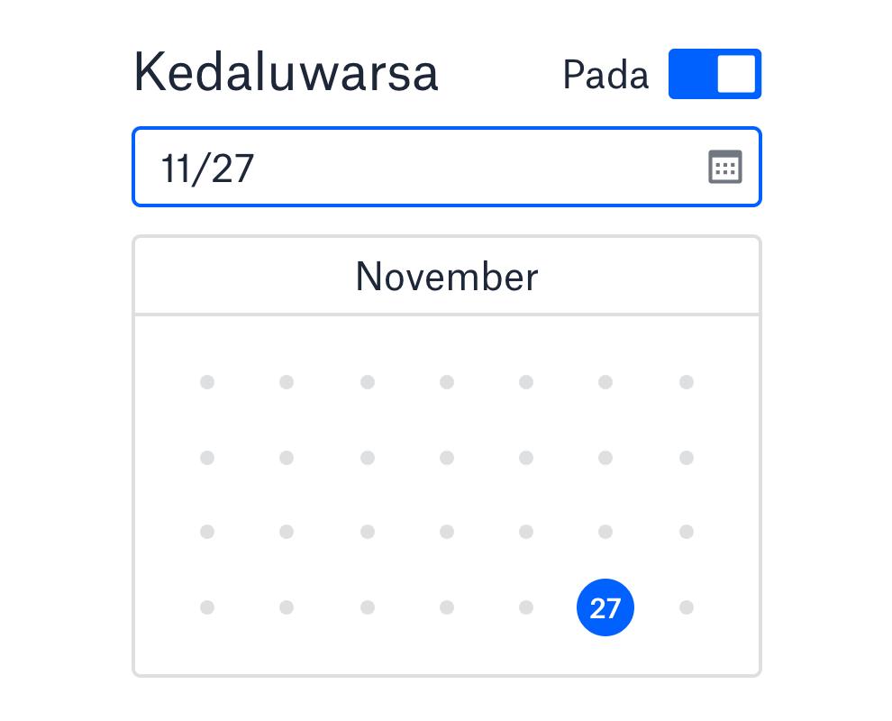 Mengatur tanggal kedaluwarsa tautan