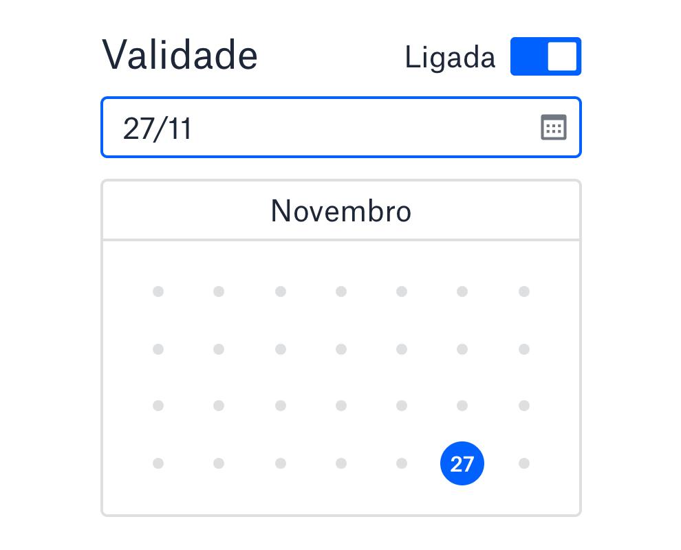 Definição de data de validade para links