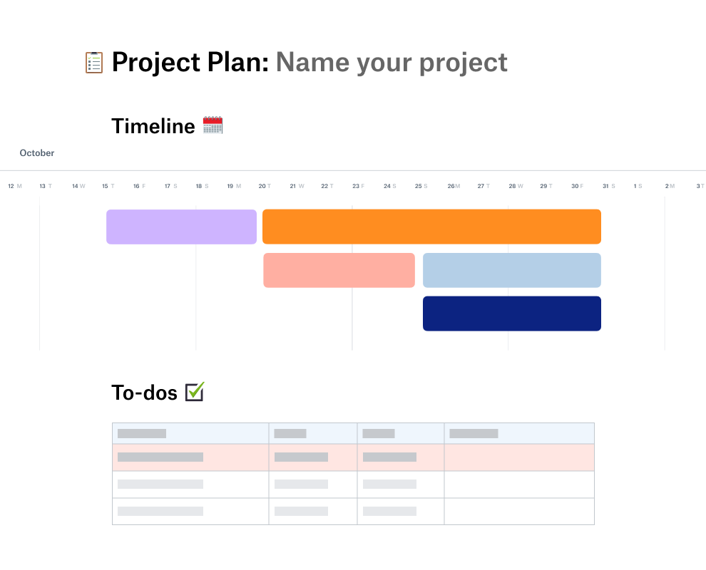 Project plan template with a timeline for October positioned above a to-do list