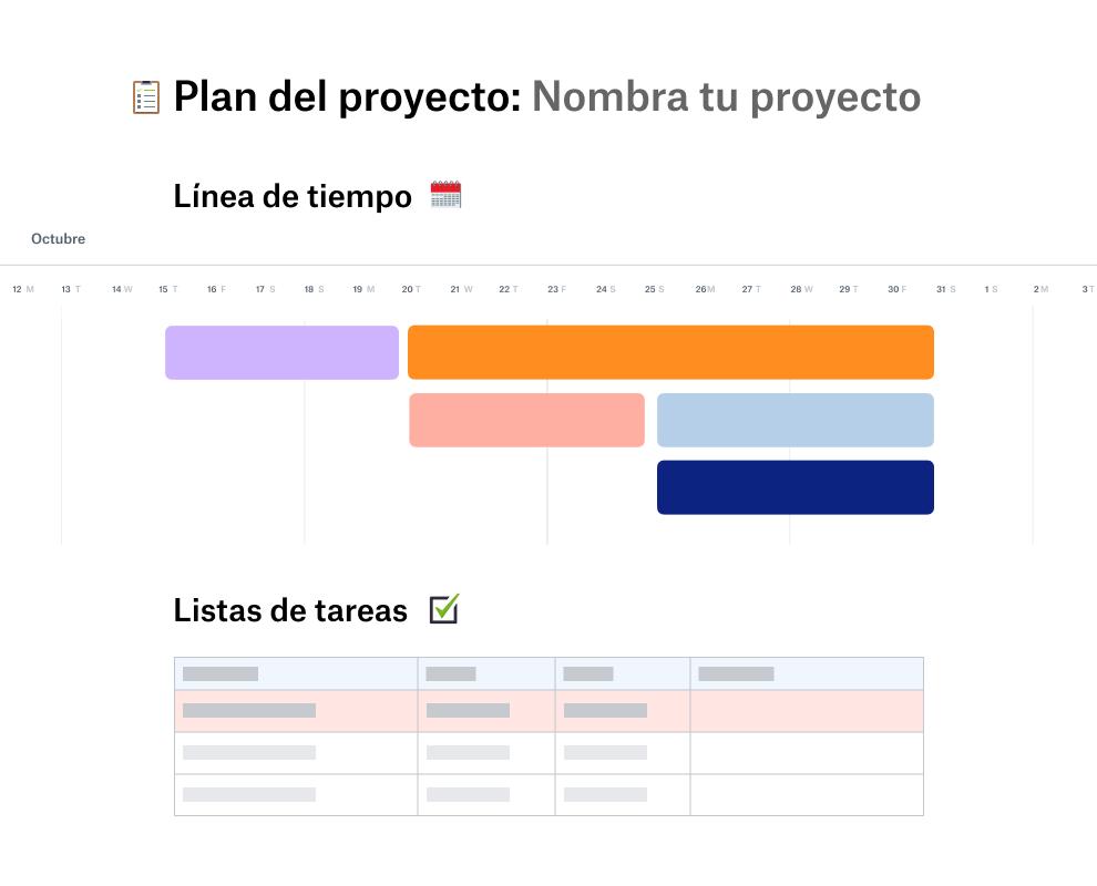 Plantilla de plan de proyecto con una línea de tiempo para octubre colocada por encima de una lista de tareas