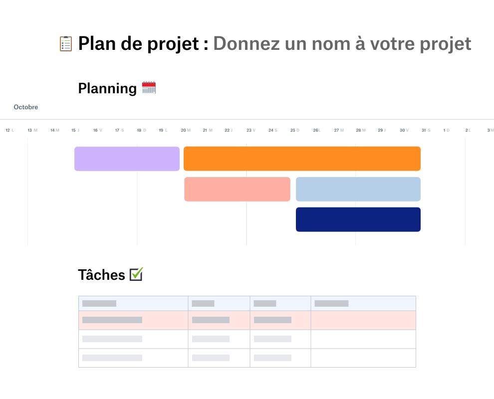 Modèle de plan de projet avec un planning pour octobre suivi d'une liste de tâches