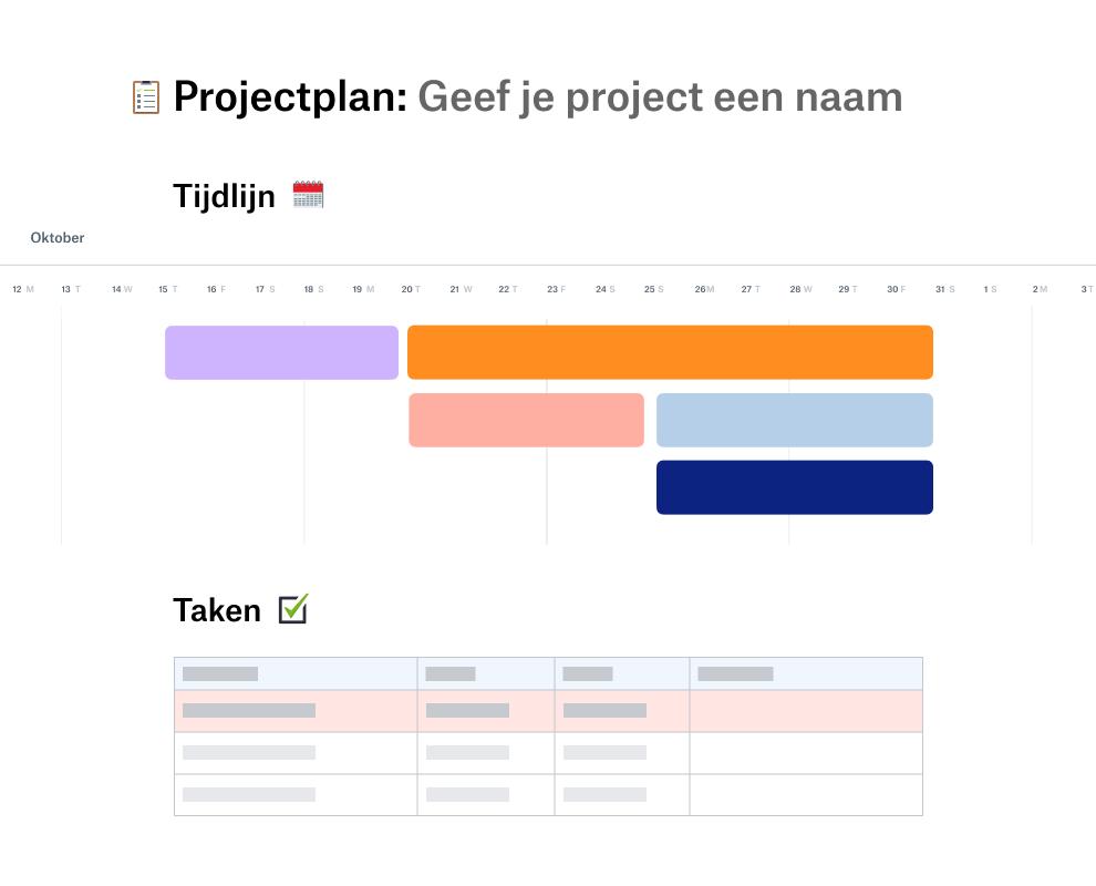Sjabloon voor een projectplan met een tijdlijn voor oktober boven een takenlijst