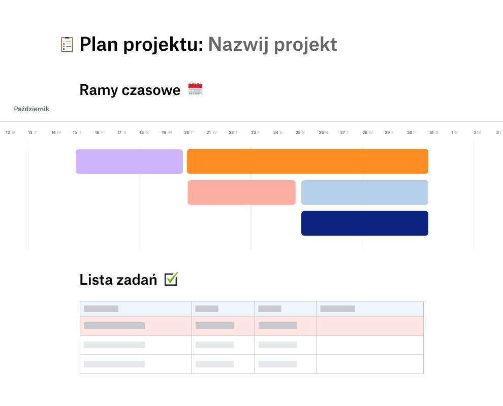 Szablon planu projektu z harmonogramem na październik znajdujący się nad listą zadań