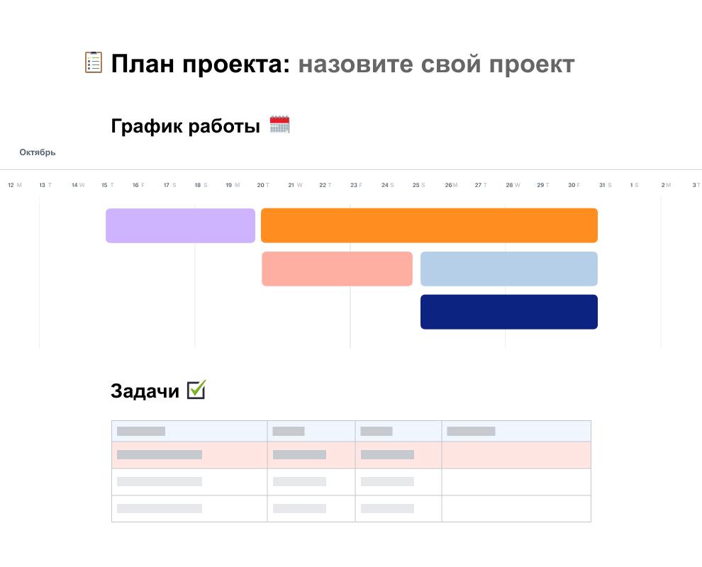 Шаблон плана проекта с графиком работы на октябрь, размещенный над списком заданий