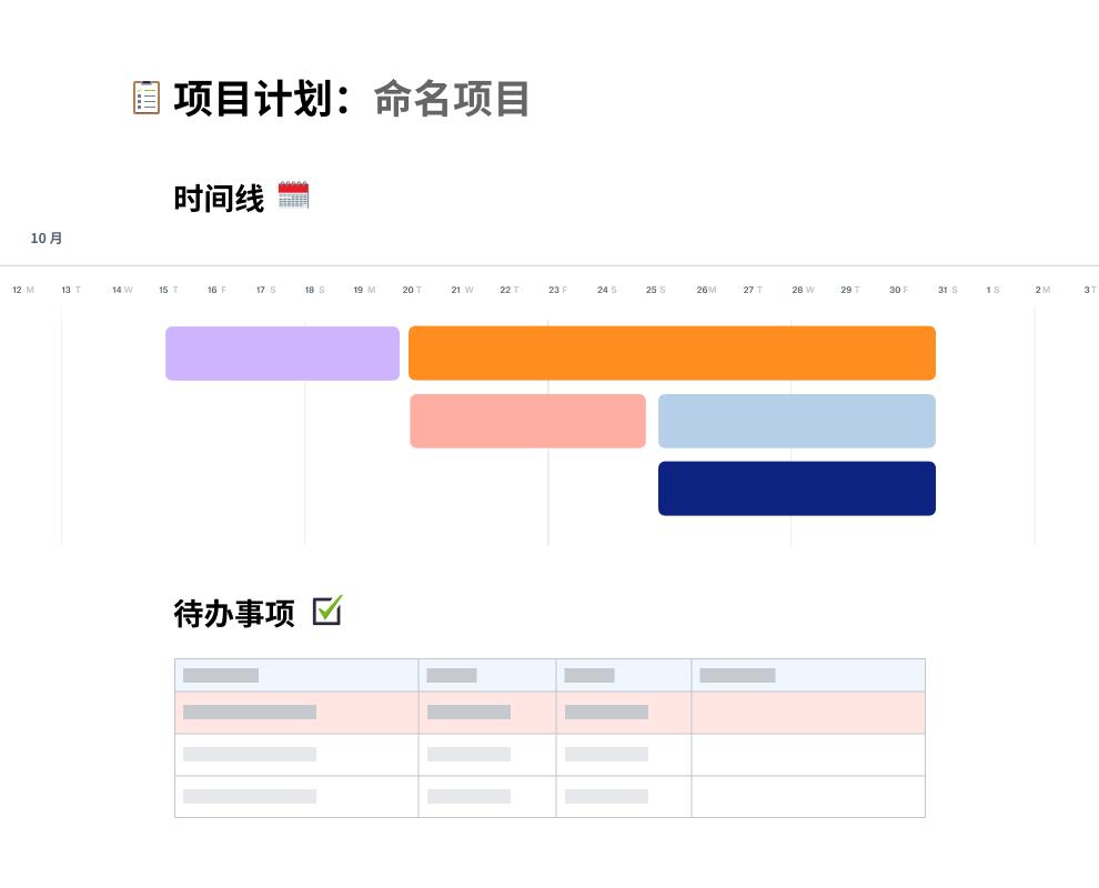 项目规划模板,其中待办事项列表上方是十月的工作时间线