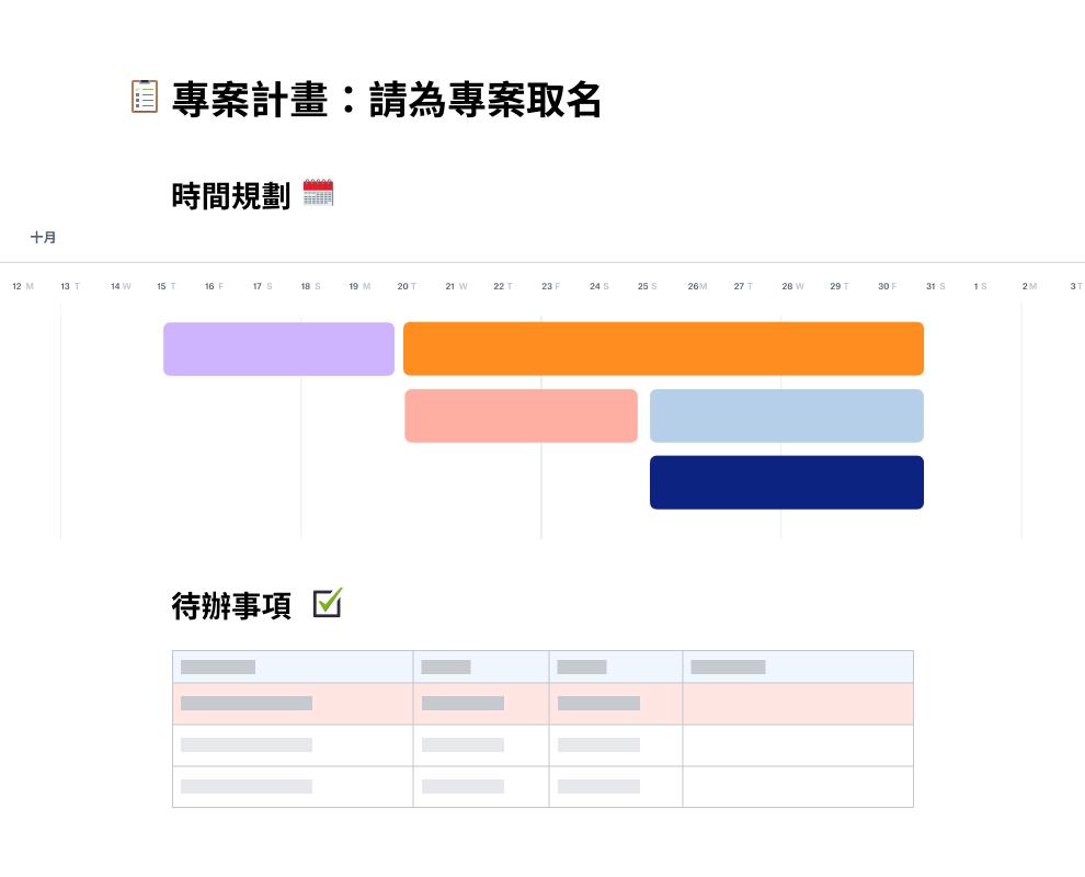 專案規劃範本顯示 10 月的時程,時程下方為待辦清單