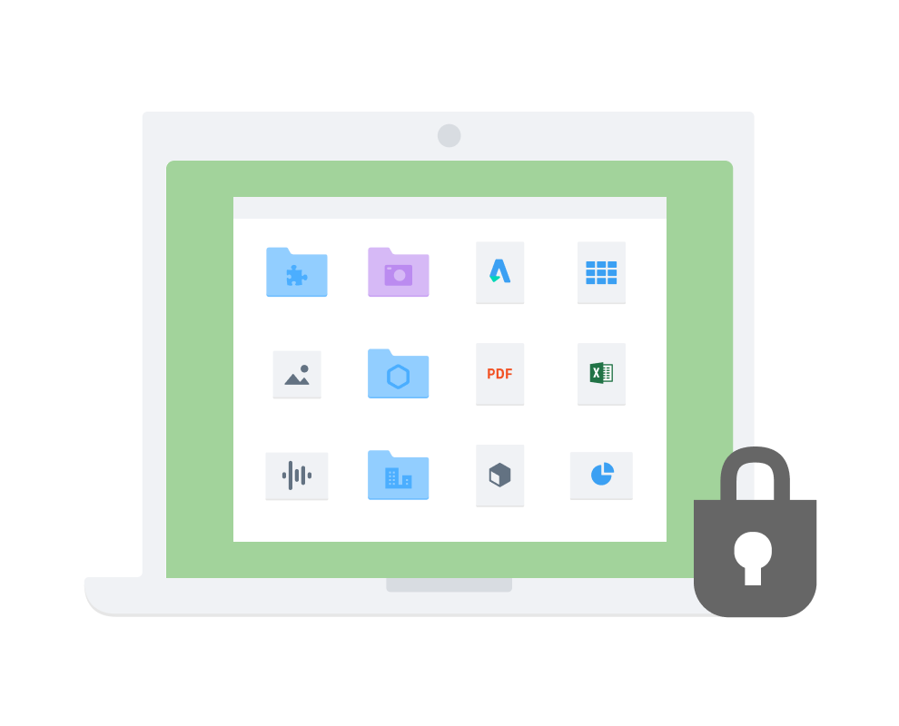 Padlock symbol overlaying a 3 by 4 grid of folders and icons