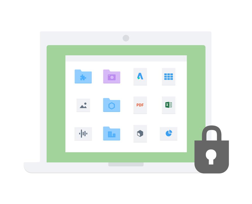 Символ замка на рамке, внутри которой— 4 ряда пиктограмм папок и файлов (по 3 в каждом ряду) с контентом разных форматов.
