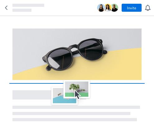 Plusieurs utilisateurs collaborant sur un même document et partageant une image en temps réel