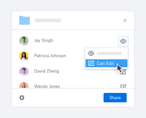 User selecting edit access when sharing a folder