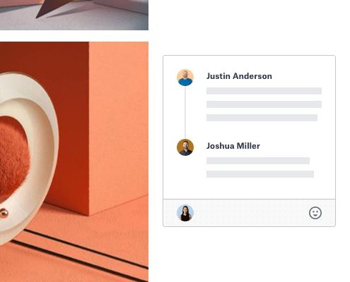 Utilisateurs commentant une image dans un document partagé