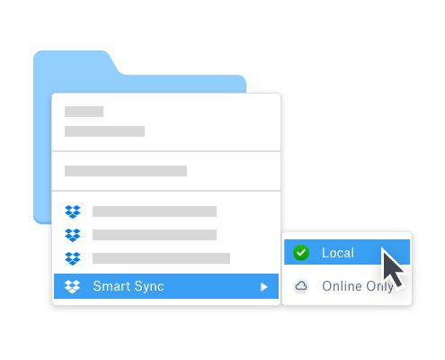 User selecting offline folder access using Dropbox Smart Sync to work offline