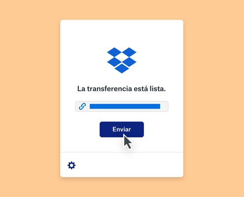 Un mensaje que indica que una transferencia de Dropbox está lista encima de una barra de progreso completada y un ratón que se desplaza sobre un botón de envío.