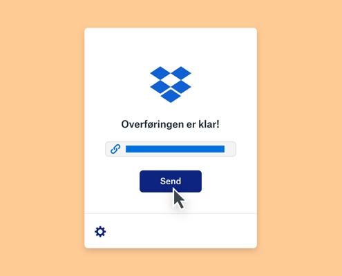 En melding om at en Dropbox-overføring er klar over en fullført fremdriftslinje og en mus som svever over en sendeknapp.