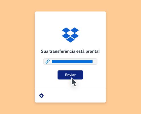 Uma mensagem de que uma transferência do Dropbox está pronta acima de uma barra de progresso concluída e um mouse pairando acima de um botão de envio.