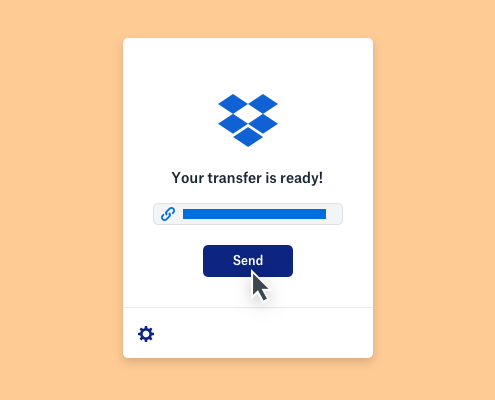 A message that a Dropbox transfer is ready above a completed progress bar and a mouse hovering above a send button.