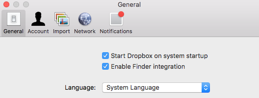 The Language menu in the General tab of Dropbox preferences.