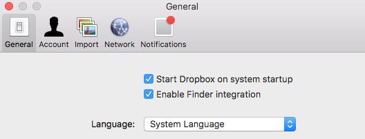 Il menu Lingua nella scheda Generale delle preferenze di Dropbox.