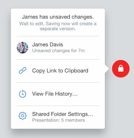Badge Dropbox avec icône rouge représentant un cadenas