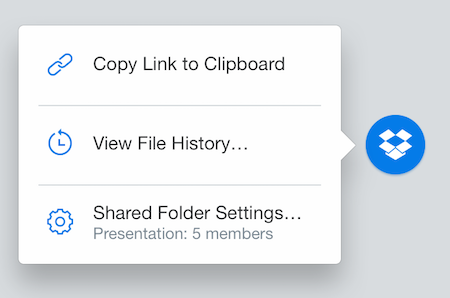 Il badge Dropbox