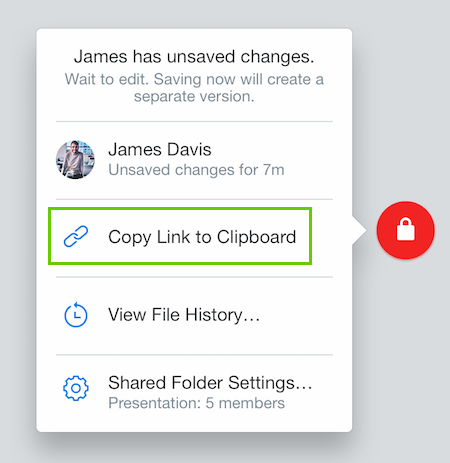 Compartir enlace a un archivo desde la insignia de Dropbox
