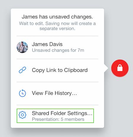 Manage shared folder settings using the Dropbox badge