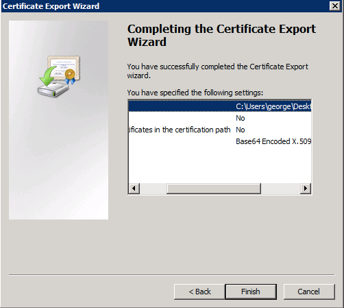Finish Export Wizard