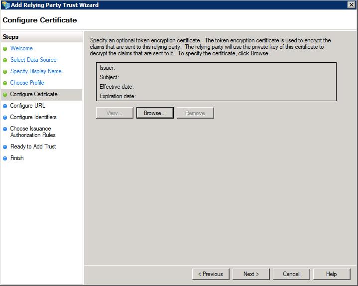 証明書の構成(Configure Certificate)