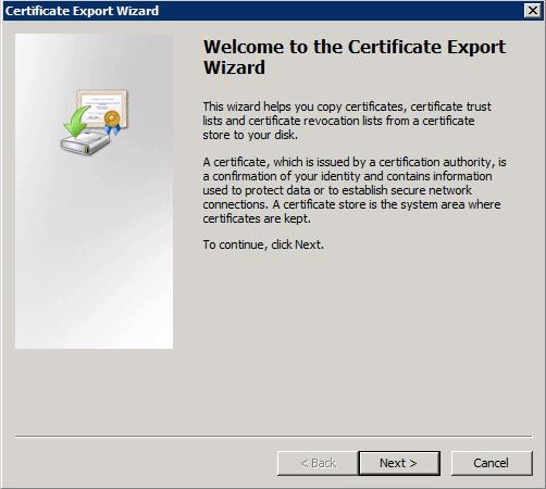 証明書のエクスポート ウィザード(Certificate Export Wizard)