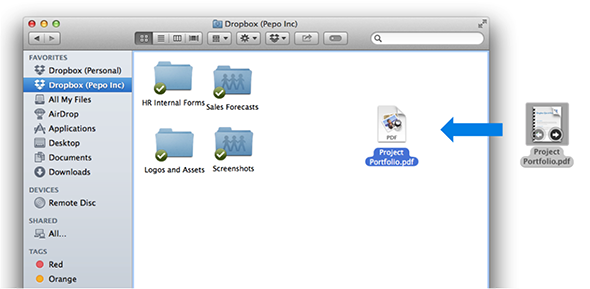 Drag files directly into your Dropbox folder.