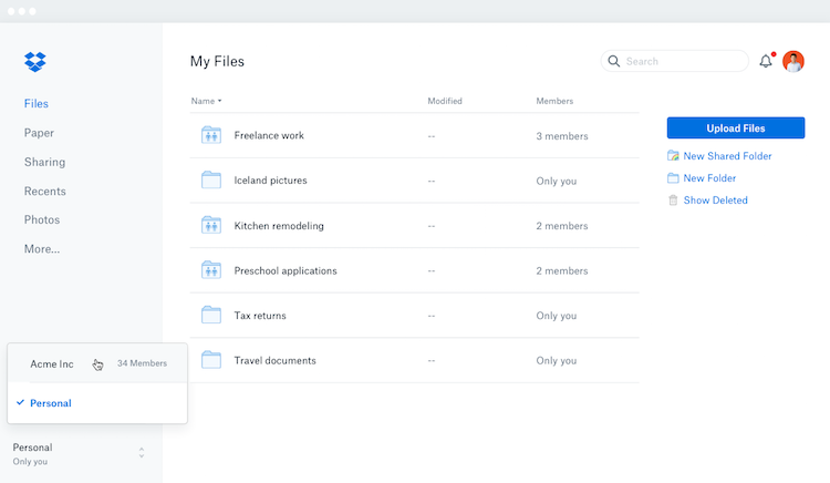 Neues Dropbox-Design